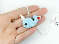 Kawaii Blue Narwhal Charm Necklace Polymer Clay