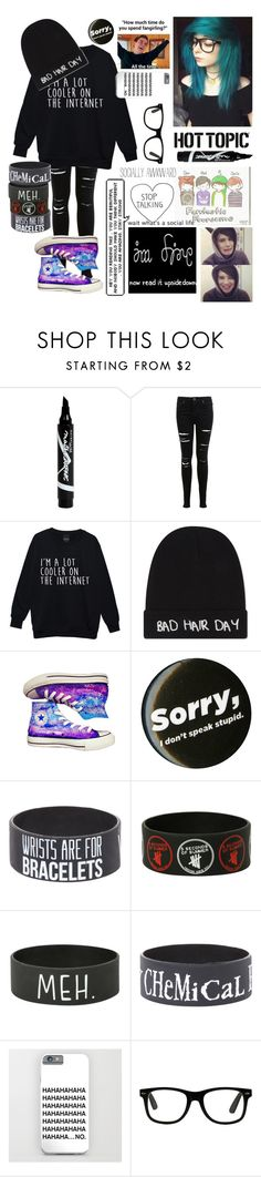 """Tagged"" by kitkat0305 ❤ liked on Polyvore featuring Maybelline, Miss Selfridge, Local Heroes and Converse"