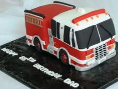 fire truck cake - good colors.  Cab should be white with red accents