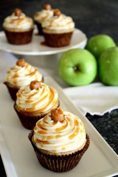 Apple Cinnamon Cupcakes with Salted Caramel Buttercream Frosting