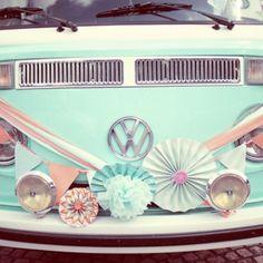 vintage, turquoise, coral, handmade, wedding by Heaven in a Wild Flower - volkswagen kombi decor