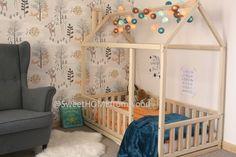 Enfants lit de 160 x 70 / 80/ 90cm, lit de maison en bois, lit Accueil, lit bébé, lit cadre, lit original, lit maison, lit de plancher, en développement jouet et lattes
