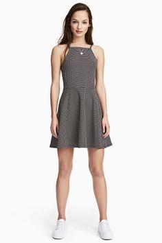 Vestido en punto con textura - Negro/Lunares - MUJER | H&M ES 1