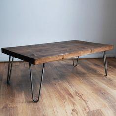 Rustic Vintage Industrial Solid Wood Coffee Table-Bare Metal Hairpin Legs, Dark in Home, Furniture & DIY, Furniture, Tables | eBay