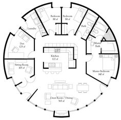 """Image: Callisto VI — A """"President's Choice"""" . Another type of home in the round, made of shotcrete and rebar, by Monolithic. This floor plan is too big for a yurt, but would be a great round floor plan. Monolithic Dome Homes, Geodesic Dome Homes, Earthship, Round House Plans, Cob House Plans, Beach House Floor Plans, Yurt Living, Living Room, Living Area"""