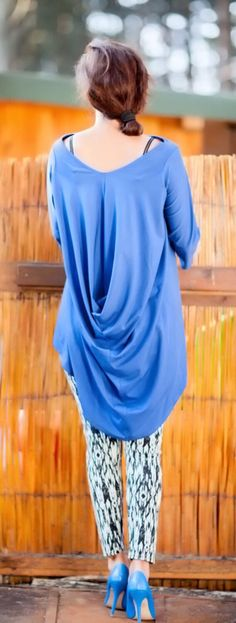 Asymmetrical  Blue Loose TunicDraped Oversize by FIVELEMENT