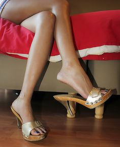High Heel Slides & nothing but Mules Sexy Legs And Heels, Hot High Heels, Womens High Heels, Gorgeous Feet, Beautiful Shoes, High Heel Mule Shoes, Wooden Sandals, Wooden Clogs, Sexy Sandals