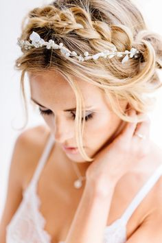 Braided wedding hair with pearl headpiece