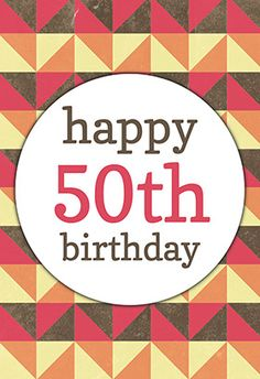 """Fabulous 50th"" printable card. Customize, add text and photos. print for free!"