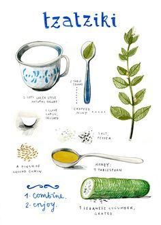 Tzatziki by felicita sala illustration - Really nice, clean illustrated recipe. Tzatziki by feli Tzatziki Recipes, Salsa Tzatziki, Homemade Tzatziki Sauce, Natural Yogurt, Cooking Recipes, Healthy Recipes, Healthy Food, Vegetarian Recipes, Chutneys