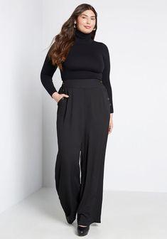 Plus Size Skirts & Bottoms   ModCloth Simply Fashion, Plus Size Fashion, Plus Size Skirts, Plus Size Outfits, Wide Leg Trousers, Wide Leg Pants, Look Plus Size, Plus Size Winter, Monochrome Fashion