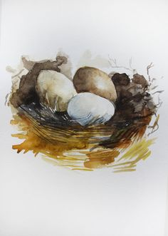 Original Watercolor Painting of Birds Nest Wall Art bird Painting of nest gift for mom Egg and Nest Painting for kitchen Art OOAK by MaryArtStudio on Etsy
