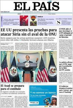 Los Titulares y Portadas de Noticias Destacadas Españolas del 31 de Agosto de 2013 del Diario El País ¿Que le pareció esta Portada de este Diario Español?