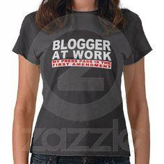 Blogger At Work Press Pass (dark) Tee Shirts from Zazzle.com