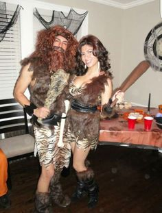 Caveman and cave woman couples costumes