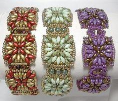 Maya Bands beaded pattern tutorial by Deb Roberti Beaded Braclets, Beaded Bracelet Patterns, Seed Bead Bracelets, Seed Bead Jewelry, Jewelry Patterns, Beaded Jewelry, Seed Beads, Jewelry Box, Jewellery