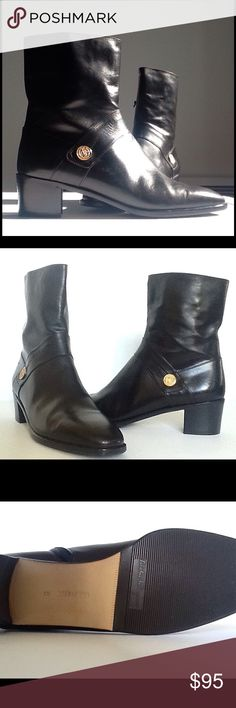 """FERRAGAMO  Black Ankle Boots Sz. 8 AA -Never Worn- Gorgeous, timeless style these black leather FERRAGAMO boots have a zipper on the inner boot for ease. Serial number DU24658 47 sized 8 2A. Not sure of their vintage, and there is a scratch but only visible if you are looking for it (last photo, it's on the inner arch of the left shoe) 2"""" stacked Cuban heel. These are just amazing. If these are your size (not mine unfortunately!!!) you MUST own them at this amazing price. Ferragamo Shoes…"""