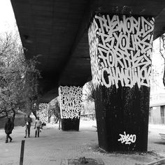 """The word is yours"". Excellent spatial usage by by muralfestival Murals Street Art, Urban Graffiti, Graffiti Art, Graffiti Lettering Fonts, Typography, Best Build, 1080p Wallpaper, Contemporary Paintings, Urban Art"