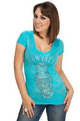 """Skull Owl Burnout- For the """"everything owl"""" fanatic! Burnout tee in a nice bright turquoise!"""