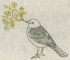 Geninne's Art Blog: Singing bird embroidery