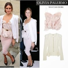 Olivia Palermo in white peplum jacket, pink ruffled belted bustier top and light pink pencil skirt by Nina Ricci - Want Her Style