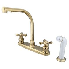 Kingston Brass GKB712AX Water Saving Victorian High Arch Kitchen Faucet with Cross Handles and Sprayer, Polished Brass
