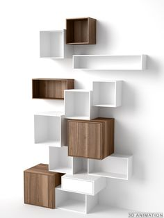 Shelving system in fine walnut veneer / Edles Walnuss Regalsystem