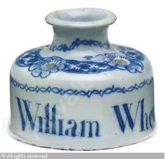 BLUE AND WHITE DOCUMENTARY INK-POT Date : 1764. This represents that my writing re DaveBeckmann being talented musician&businessman - and honest are solid as a rock. Thank you.
