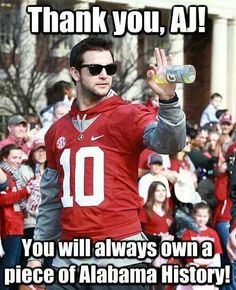 A.j. will be missed!! :'(   Check this out too ~ For Great Sports Stories and Funny Audio Podcasts, Visit RollTideWarEagle.com and while you're there, try for free Train Deck, to learn the rules of the game you love. #Alabamafootball