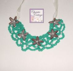 Necklace  Teal Bib Bohemian  Pearls by ChristieCottage on Etsy, $20.00