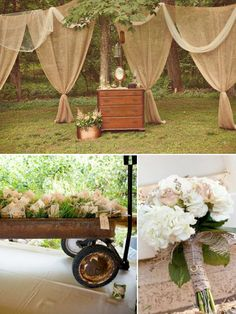 déco mariage champêtre - bouquet d'hortensias blancs et ruban en toile de jute, commode rustique et voiles en toile de lin