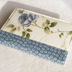 Fabric Journal - Blue Rose - Handmade Notebook Cover - by PatchworkMill, $16.00