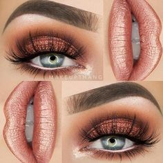 Holiday Eye Makeup - Prom Makeup Looks Glitter Eye Makeup, Prom Makeup, Cute Makeup, Pretty Makeup, Makeup Looks, Coral Eye Makeup, Makeup Inspo, Makeup Inspiration, Makeup Tips