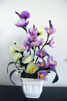 Handmade  Purple and Light Green Orchids Arrangements
