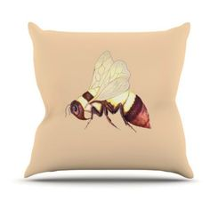 Kess InHouse Catherine Holcombe Bee Happy Beige Outdoor Throw Pillow - CH1014AOP0