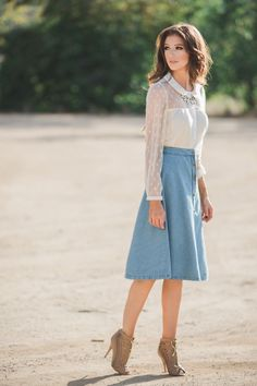 Midi Skirts, Mid Length Skirts – Morning Lavender