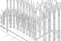 Atelier Re- : Re - Opening Beauvais' Cathedral Gothic Architecture Drawing, Geometry, Cathedral, Outdoor Structures, Drawings, Presentation, Windows, Urban Planning, Atelier