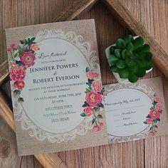 cheap vintage rustic roses wedding invitation EWI397 I LOVE THIS DESIGN