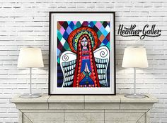 DIGITAL Print File - Virgin of Guadalupe Mexican Folk Art, Instant Art Print, Printable Digital Instant Download, Mexican Art Heather Galler