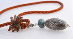 Out of the Mist - crocheted seed bead rope with Artisan lampwork and high grade turquoise. Honey from the Bee
