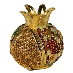 Enameled and Jeweled Hinged Pomegranate Havdallah Spice Box - 7 Species (Bronze) , Home Decor | Judaica Web Store