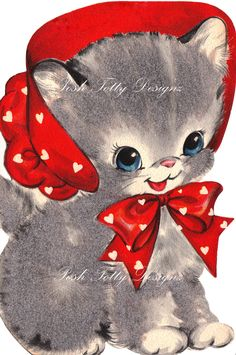 The Sweetest Little Kitten 1950s Vintage Greetings Card Digital Download Printable Images (214a)