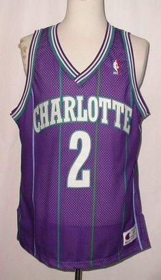 Vintage Larry Johnson Charlotte Hornets Champion Sewn Jersey sz 48 #Champion #CharlotteHornets