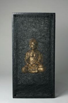 Chiharu Shiota, Zustand des Seins (Goldener Buddha) / State of Being (Golden'Buddha), 2013, Metal, buddha statue, black thread, 70 x 35 x 35...