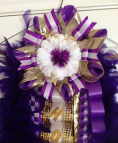 Homecoming Mum  Purple and Gold  Ready To Ship by MumAMia3 on Etsy, $87.00