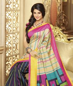 Embrace yourself in these wonderful and awe inspiring drapes which will take your magnificence to another level. Indulge in the most intricately and precisely woven sarees to give you a boost of confidence. They are available in contrasting colours and multiple patterns, so shop now!BRAND: BrijrajCATEGORY: Saree with Unstitched BlouseARTICLECOLOURMATERIALLENGTHSareeMultiBhagalpuri Art Silk 5.40 metersBlousePinkBhagalpuri Art Silk 0.80 meterWe would always want to send you what we showcase…