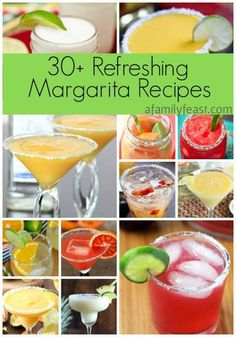 Over 30 refreshing margarita recipes are in this collection! With frozen, on the rocks, and virgin margarita recipes to choose from, there's one for everyone just in time for those summer backyard parties! Beste Cocktails, Easy Cocktails, Cocktail Drinks, Cocktail Recipes, Vodka Cocktails, Popular Cocktails, Drink Recipes, Summer Drinks, Chile Con Queso