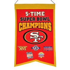 San Francisco 49ers Embroidered Wool 5-Time Super Bowl Champions Traditions Banner