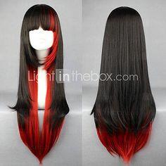 Preto e vermelho de várias cores 70 centímetros Punk Lolita peruca