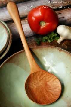 Italian Villa Serving Spoon Bring the old world to your table. This hand-carved serving spoon has a Wooden Spoon Carving, Carved Spoons, Wood Spoon, Carving Wood, Artisan Kitchen, Old World Kitchens, Serving Utensils, Kitchen Utensils, Wooden Kitchen
